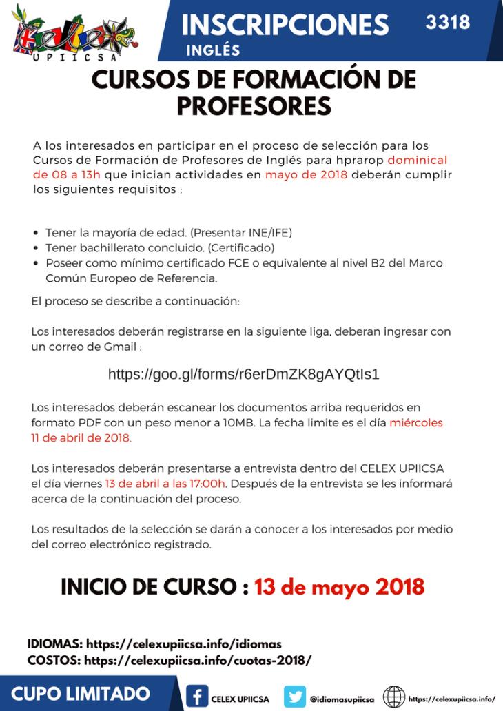 CONVOCATORIA CURSOS FORMACION DE PROFESORES