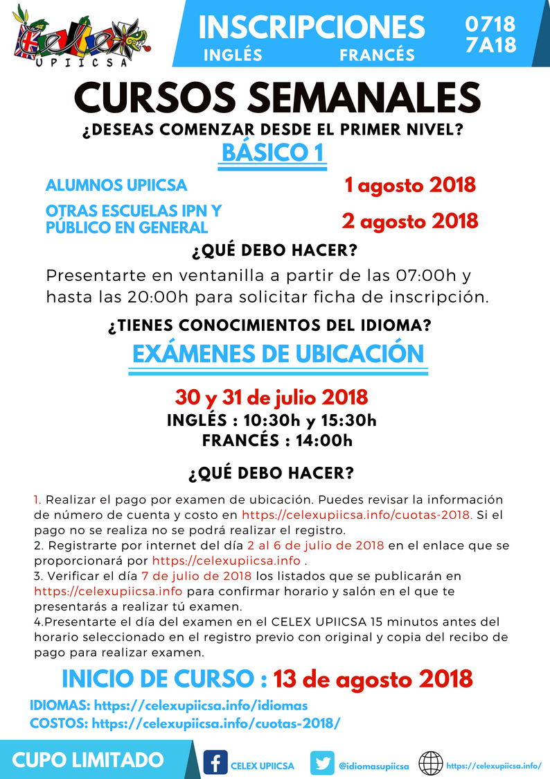 CONVOCATORIA CURSOS SEMANALES 0718