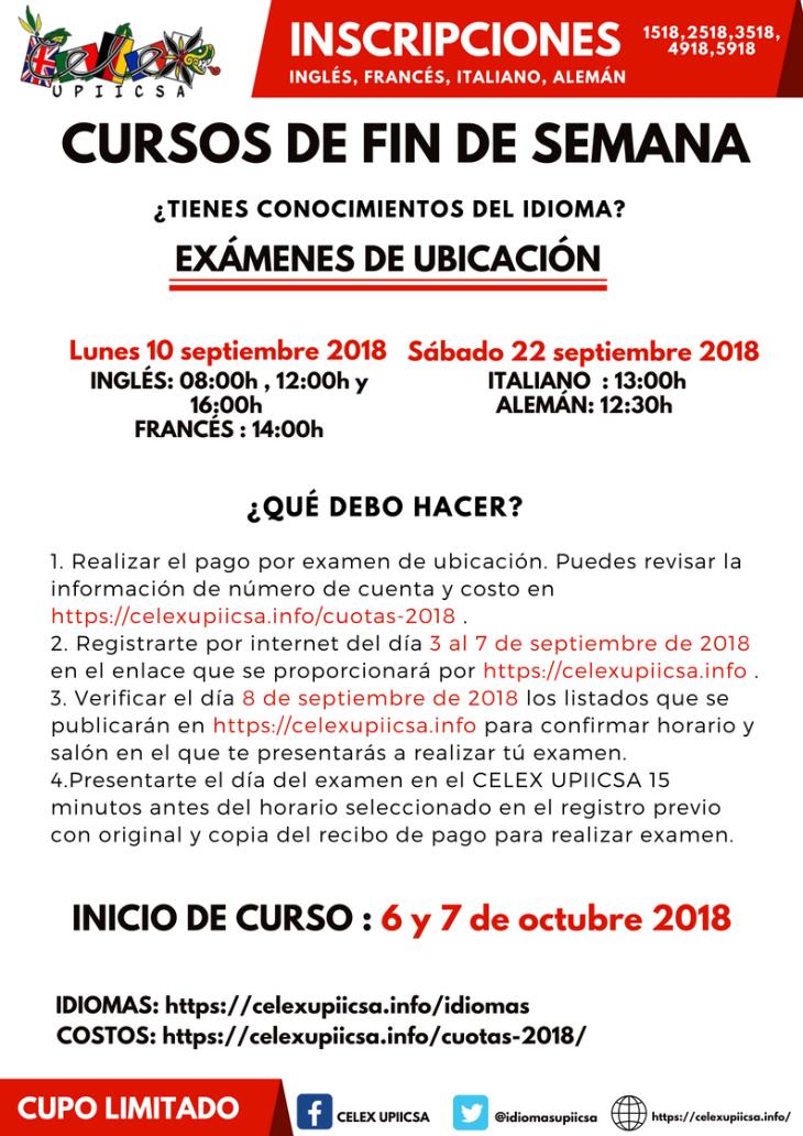 CONVOCATORIA CURSOS FIN DE SEMANA