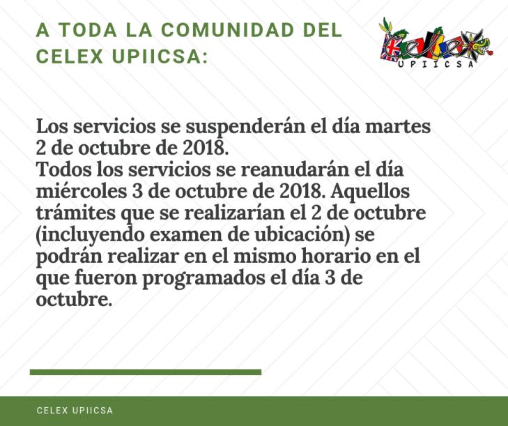 Los servicios se suspenderán el día martes 2 de octubre de 2018.-2