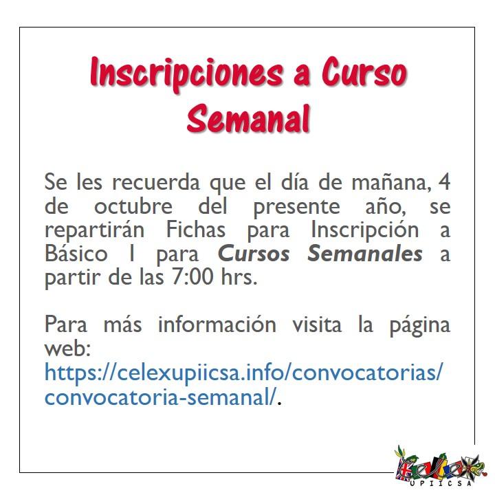 Inscripciones a Curso Semanal