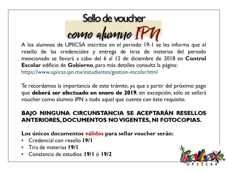 Sello de voucher como alumno IPN